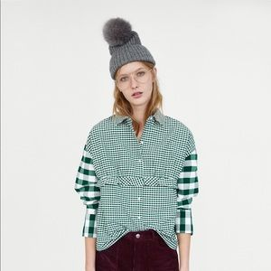Zara Contrasting Checked Top Button Up Green Med